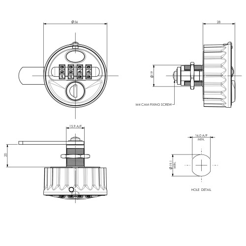 Combination Lock 2800 Technical Drawing